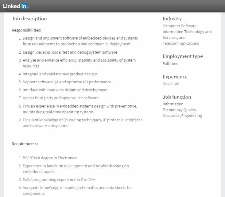 Embedded systems typical job requiement
