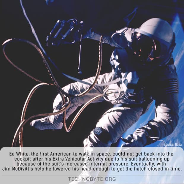Ed white EVA astronaut spacesuit snag interesting fact