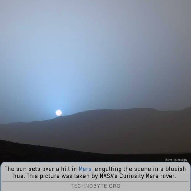 amazing fact about sunset on planet mars is that its blue